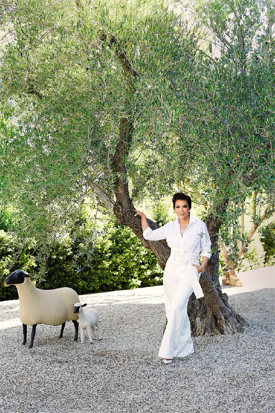Jenner, Saint Laurent gömleği, Celine pantolon ve kemeri, Manolo Blahnik ayakkabılarıyla evinin bahçesinde, François-Xavier Lalanne heykellerinin yanında poz veriyor.